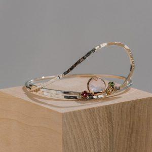 Limatus Multi Gemstone Contemporary Bangle