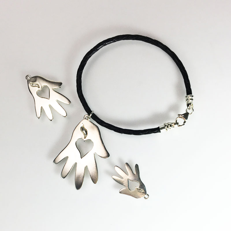 Helping Hand Corded Bracelet Silver