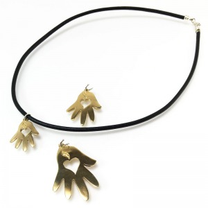 Helping Hands Bronze Pendants Leather Cord Necklace