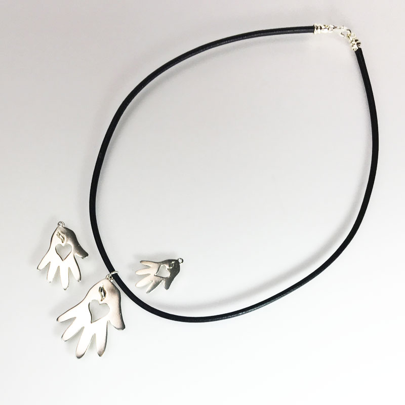Helping Hand Corded Necklace Silver Group