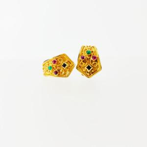Etruscan Style Multi Gem Earrings